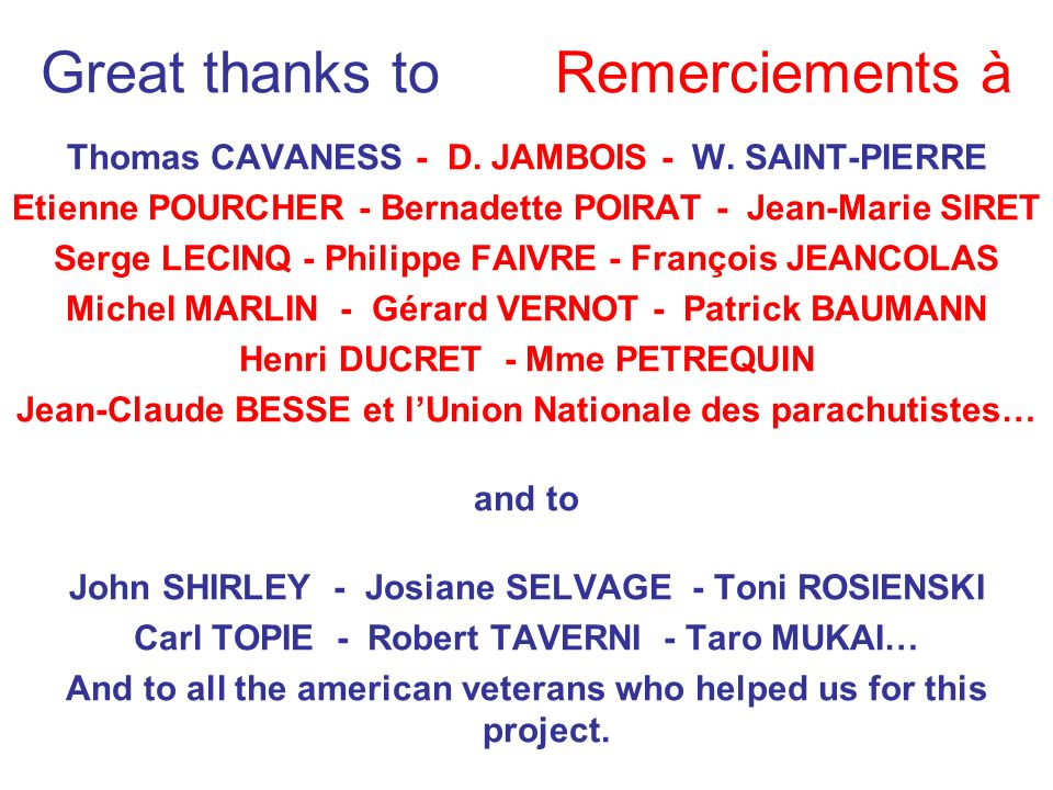 Great thanks to Remerciements à