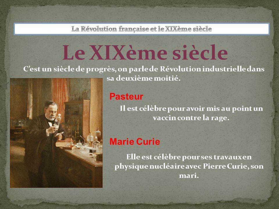 Le XIXème siècle Pasteur Marie Curie