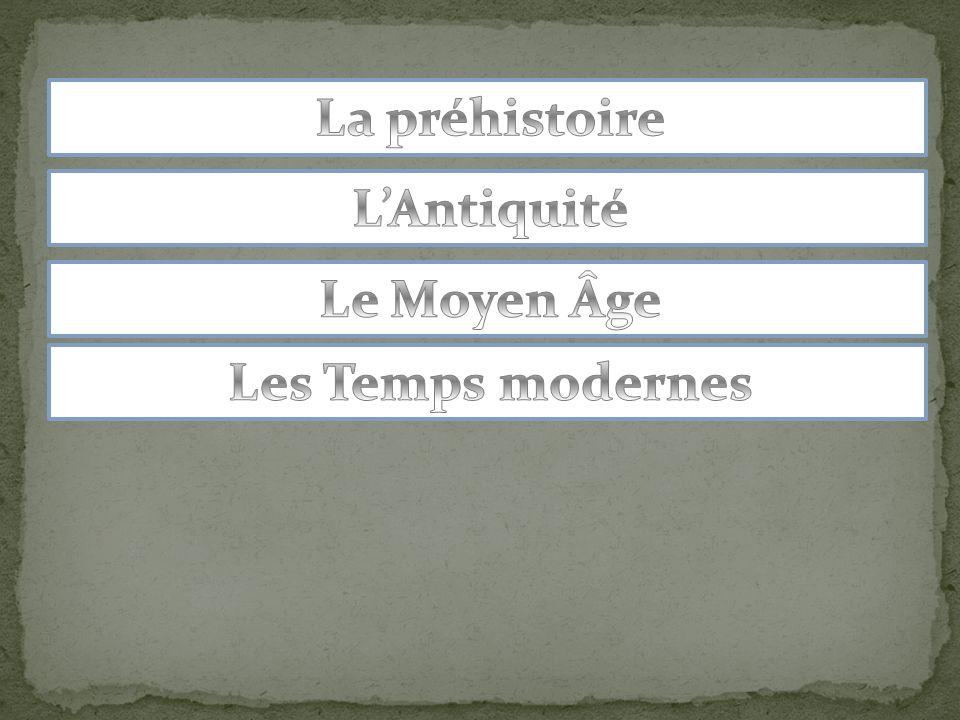 La préhistoire L'Antiquité Le Moyen Âge Les Temps modernes