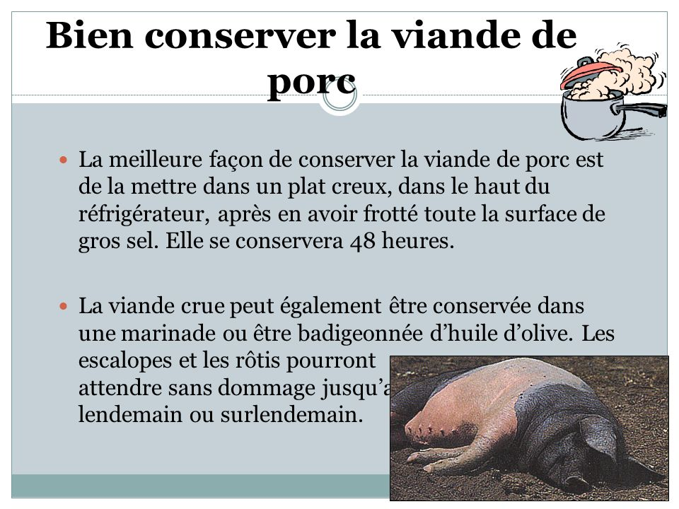 Bien conserver la viande de porc