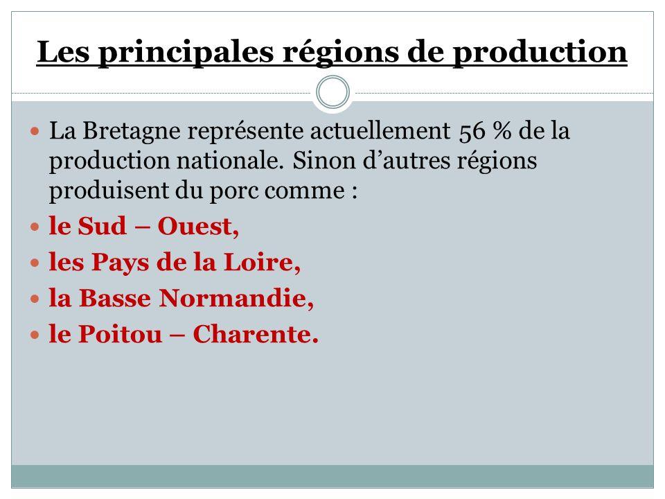 Les principales régions de production