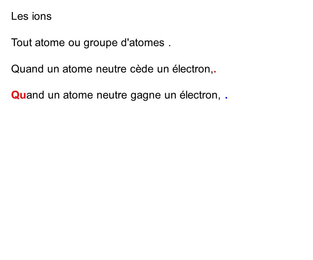 Les ions Tout atome ou groupe d atomes . Quand un atome neutre cède un électron,.