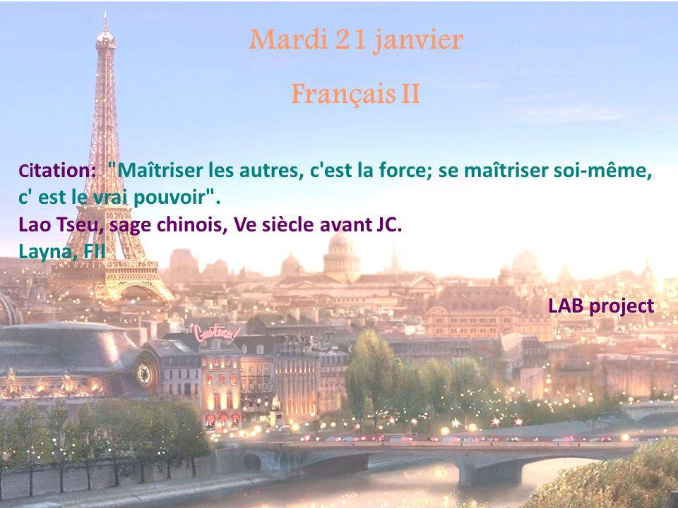 Mardi 21 janvier Français II