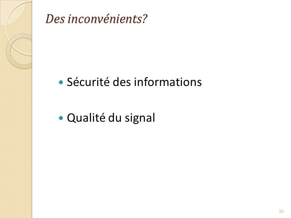 Des inconvénients Sécurité des informations Qualité du signal