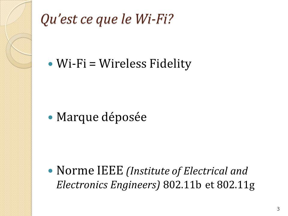 Qu'est ce que le Wi-Fi Wi-Fi = Wireless Fidelity Marque déposée