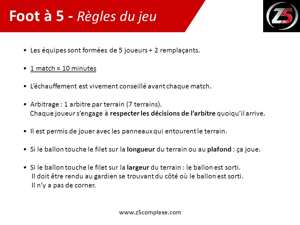 Assez Foot à 5 Règles du jeu - ppt video online télécharger UB95