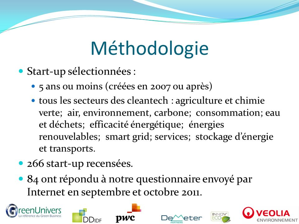 Méthodologie Start-up sélectionnées : 266 start-up recensées.