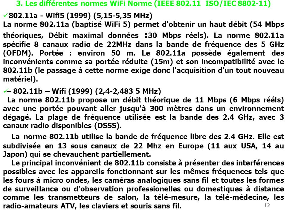 3. Les différentes normes WiFi Norme (IEEE 802.11 ISO/IEC 8802-11)