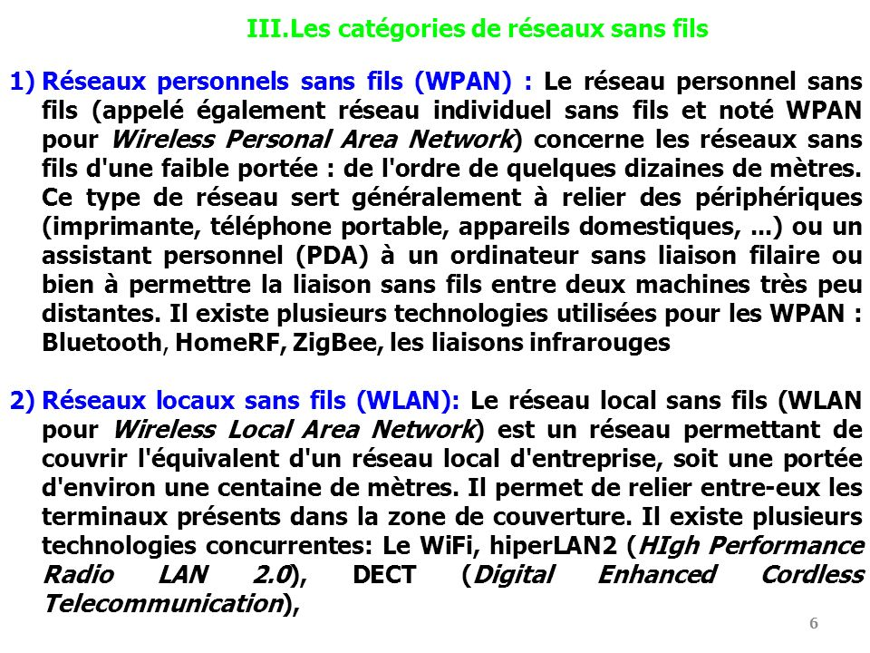 Les catégories de réseaux sans fils