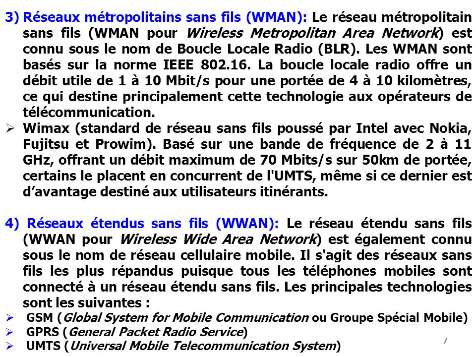 Réseaux métropolitains sans fils (WMAN): Le réseau métropolitain sans fils (WMAN pour Wireless Metropolitan Area Network) est connu sous le nom de Boucle Locale Radio (BLR). Les WMAN sont basés sur la norme IEEE 802.16. La boucle locale radio offre un débit utile de 1 à 10 Mbit/s pour une portée de 4 à 10 kilomètres, ce qui destine principalement cette technologie aux opérateurs de télécommunication.