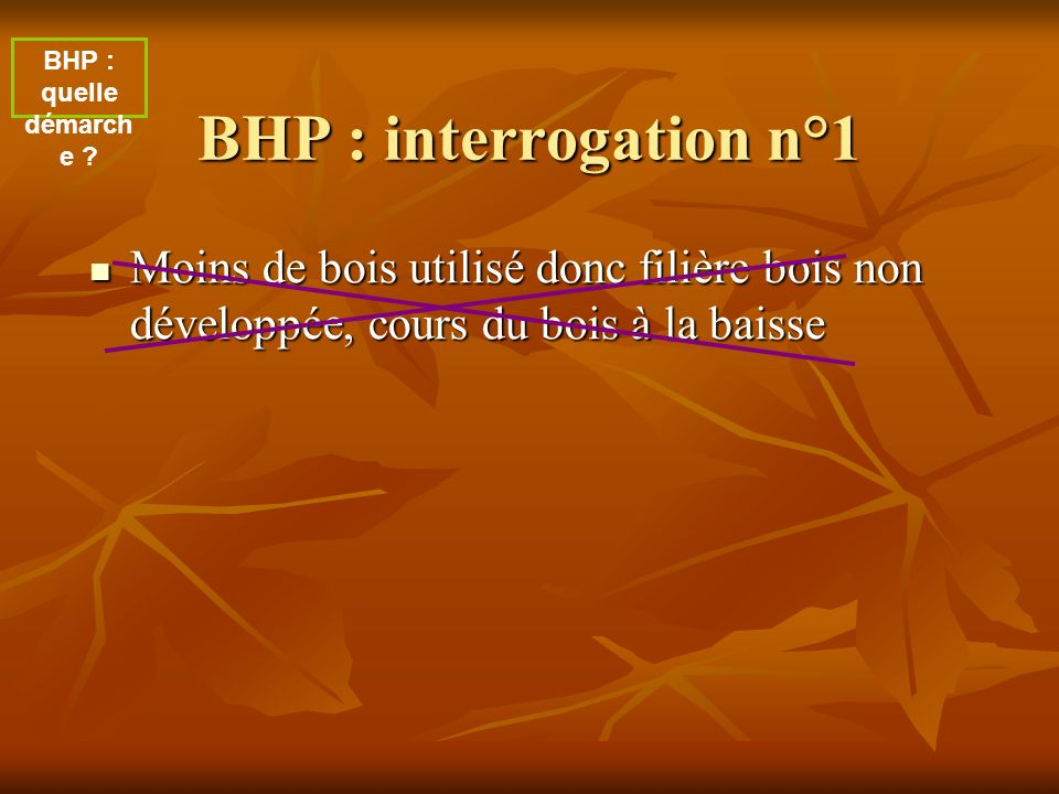 BHP : quelle démarche . BHP : interrogation n°1.