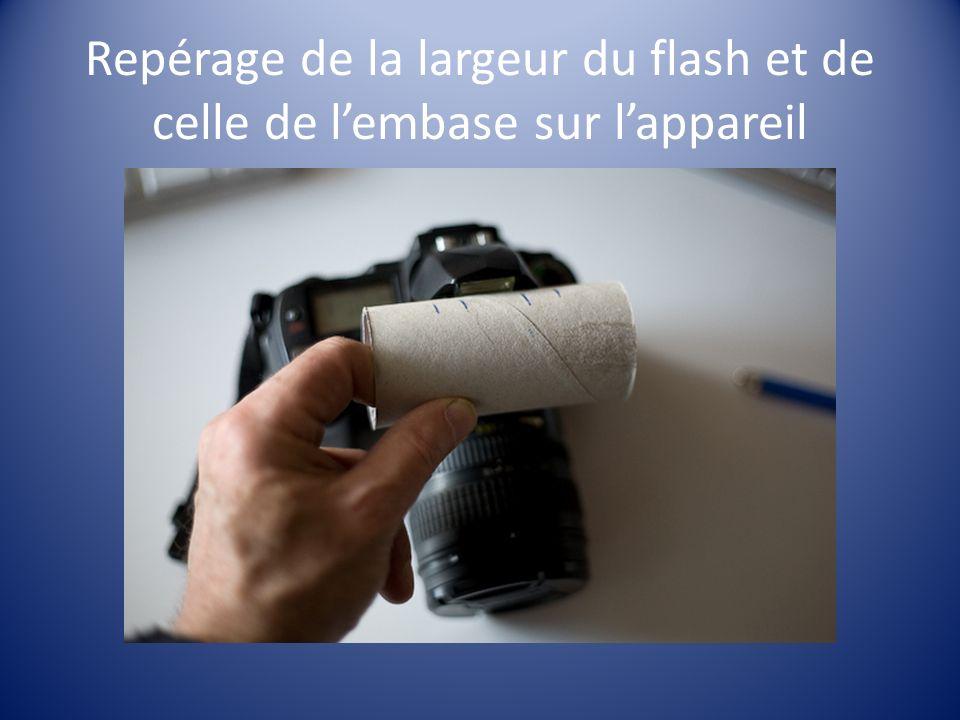 Repérage de la largeur du flash et de celle de l'embase sur l'appareil