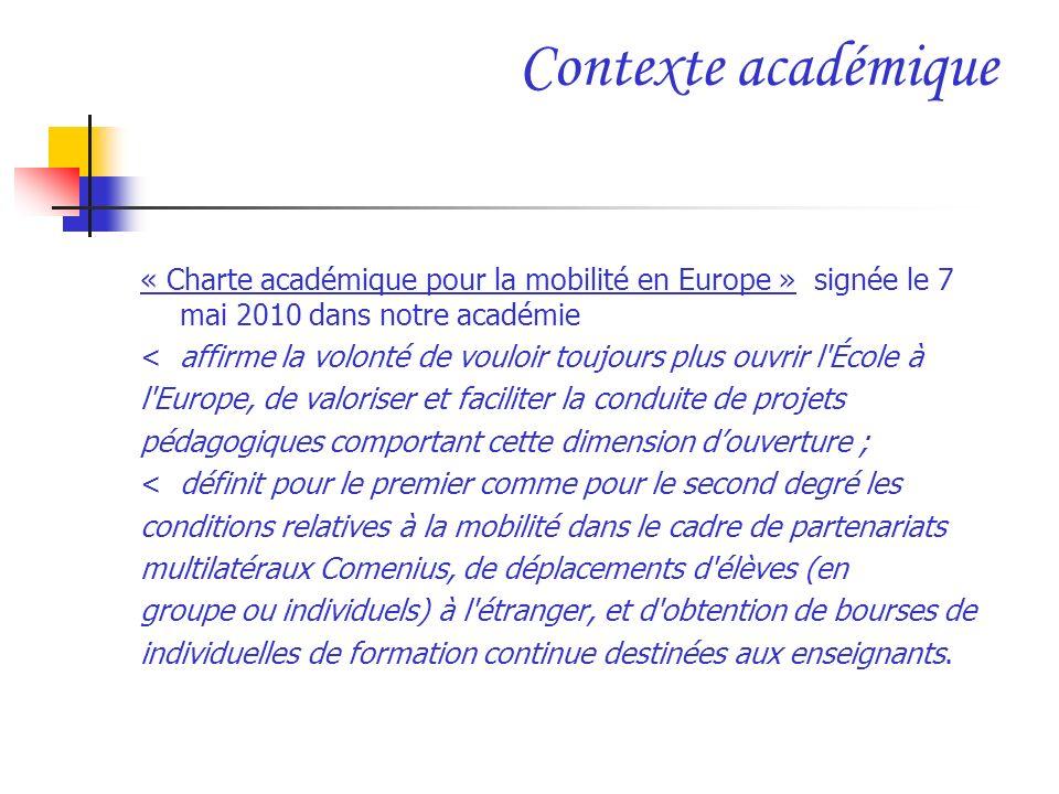 Contexte académique « Charte académique pour la mobilité en Europe » signée le 7 mai 2010 dans notre académie.