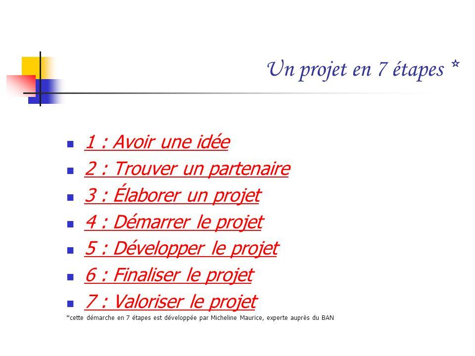 Un projet en 7 étapes * 1 : Avoir une idée 2 : Trouver un partenaire