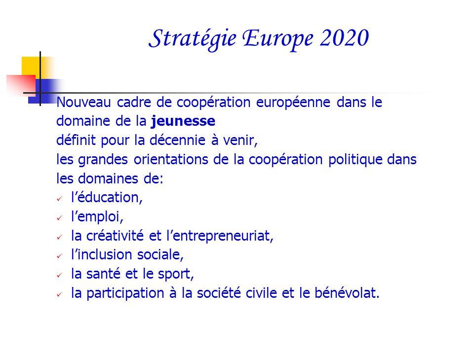 Stratégie Europe 2020 Nouveau cadre de coopération européenne dans le
