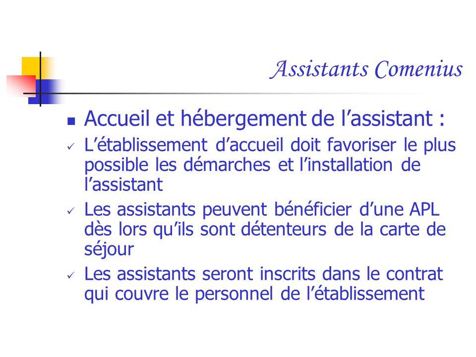 Assistants Comenius Accueil et hébergement de l'assistant :