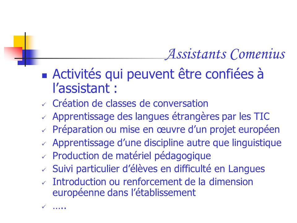 Assistants Comenius Activités qui peuvent être confiées à l'assistant : Création de classes de conversation.