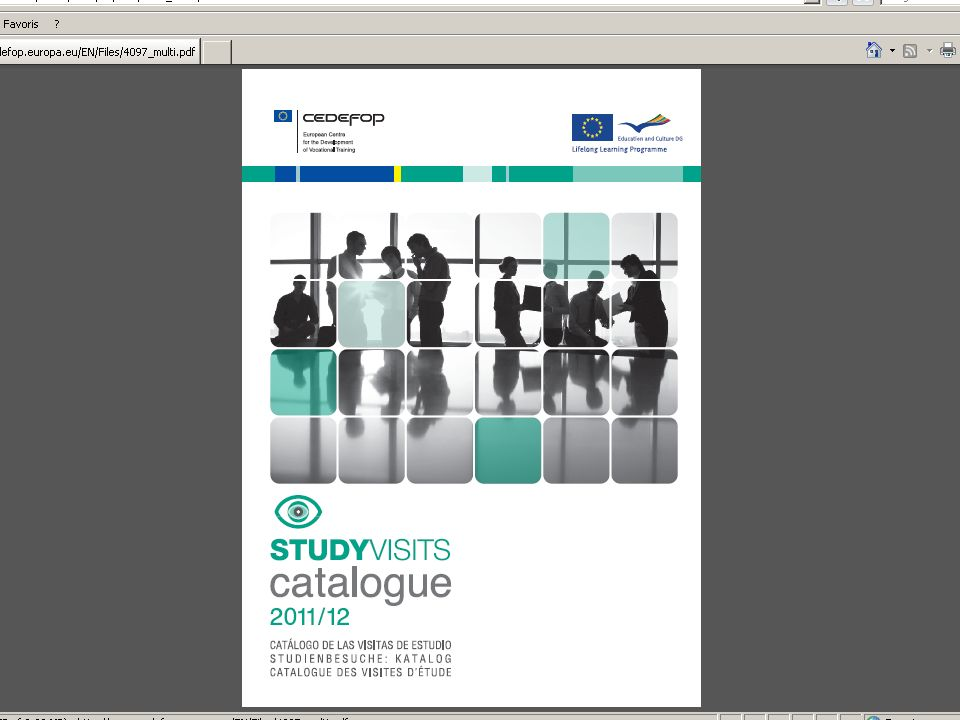 Le catalogue 2010-2011 http://studyvisits.cedefop.europa.eu