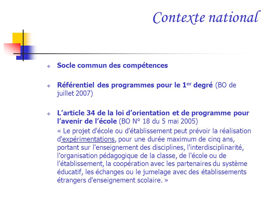 Contexte national Socle commun des compétences