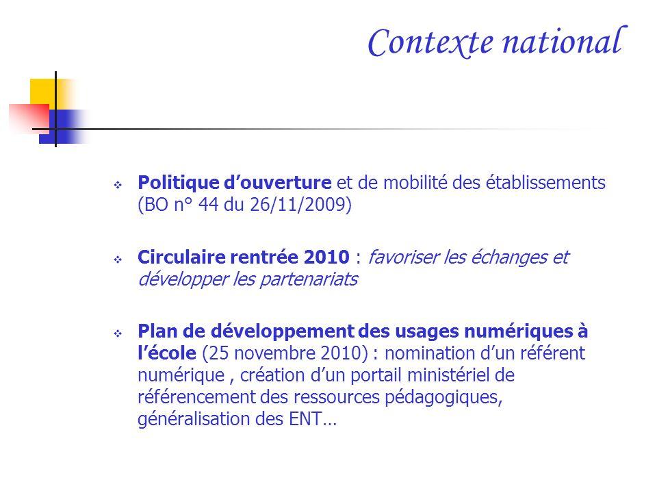 Contexte national Politique d'ouverture et de mobilité des établissements (BO n° 44 du 26/11/2009)