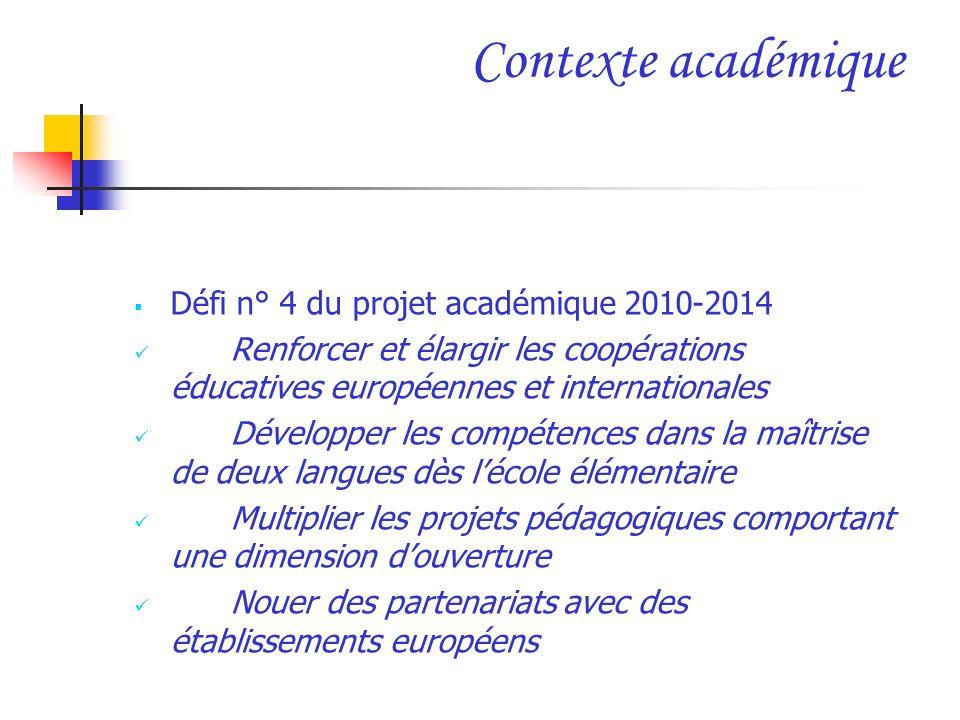 Contexte académique Défi n° 4 du projet académique 2010-2014