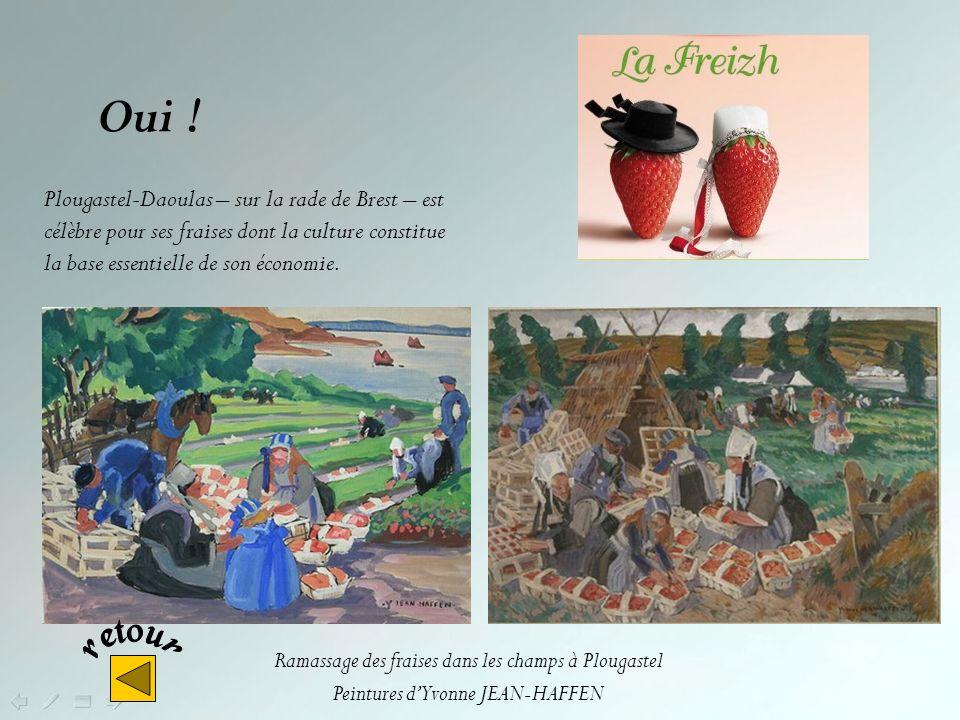 Oui ! Plougastel-Daoulas – sur la rade de Brest – est célèbre pour ses fraises dont la culture constitue la base essentielle de son économie.