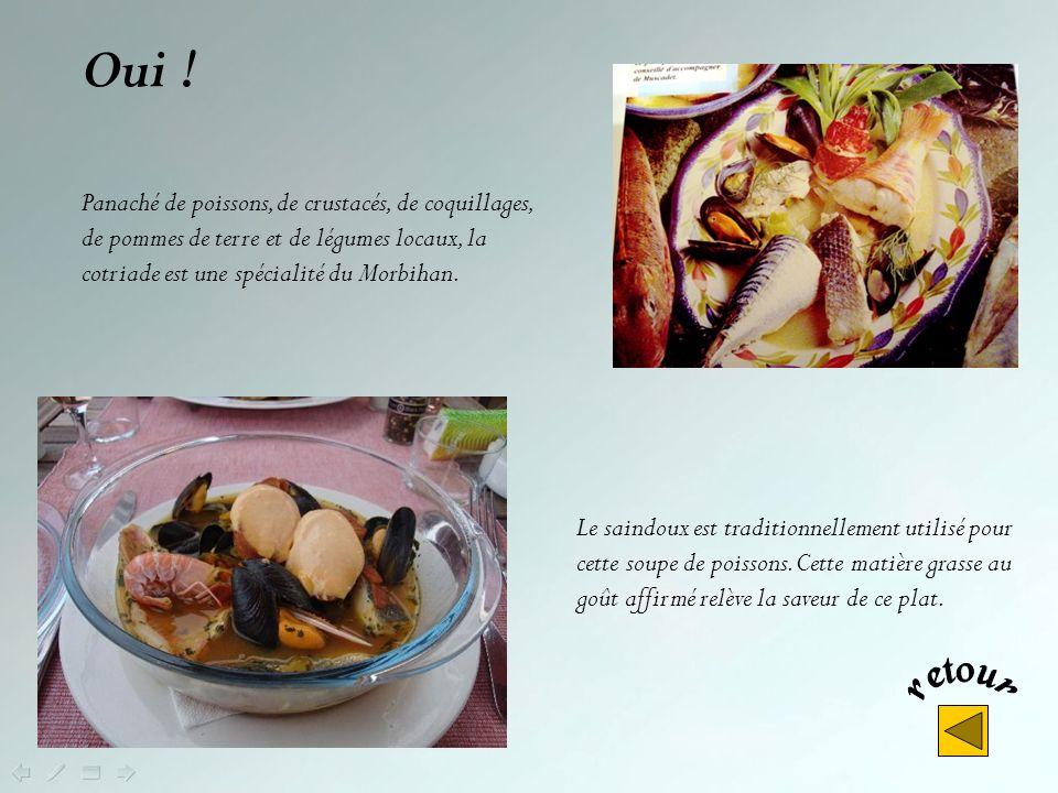 Oui ! Panaché de poissons, de crustacés, de coquillages, de pommes de terre et de légumes locaux, la cotriade est une spécialité du Morbihan.