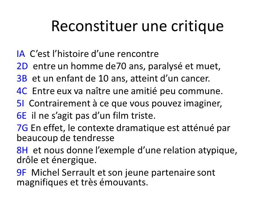 Reconstituer une critique