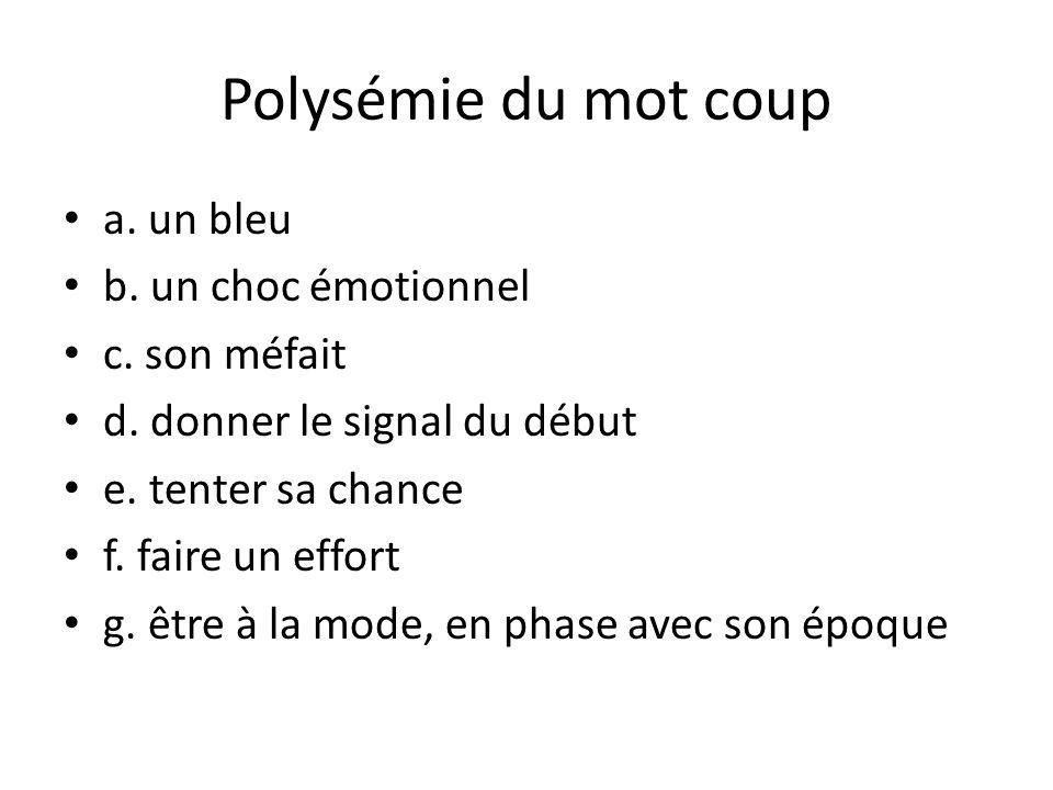 Polysémie du mot coup a. un bleu b. un choc émotionnel c. son méfait