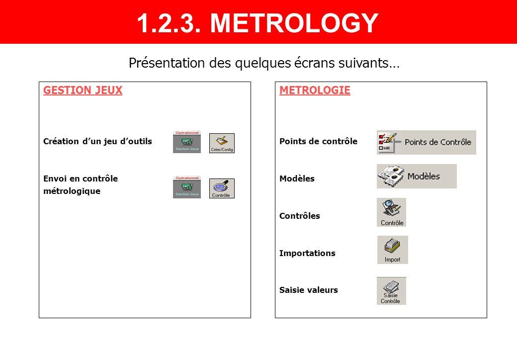 1.2.3. METROLOGY Présentation des quelques écrans suivants…