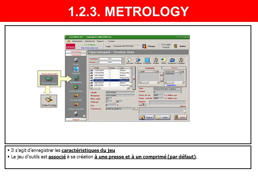 1.2.3. METROLOGY Il s'agit d'enregistrer les caractéristiques du jeu