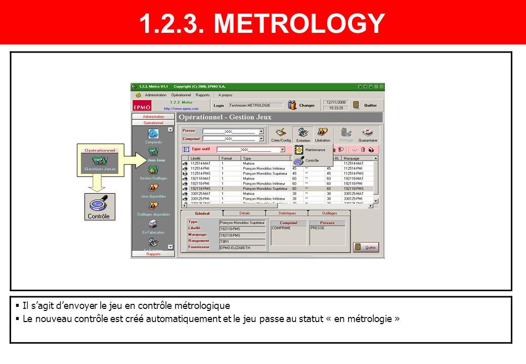1.2.3. METROLOGY Il s'agit d'envoyer le jeu en contrôle métrologique
