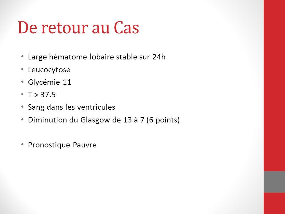 De retour au Cas Large hématome lobaire stable sur 24h Leucocytose