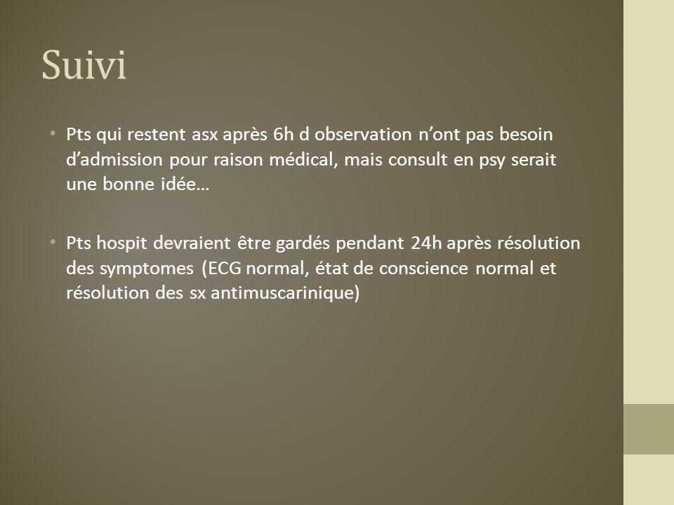 Suivi Pts qui restent asx après 6h d observation n'ont pas besoin d'admission pour raison médical, mais consult en psy serait une bonne idée…