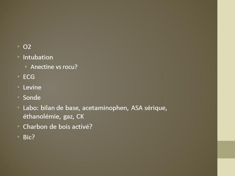 Labo: bilan de base, acetaminophen, ASA sérique, éthanolémie, gaz, CK