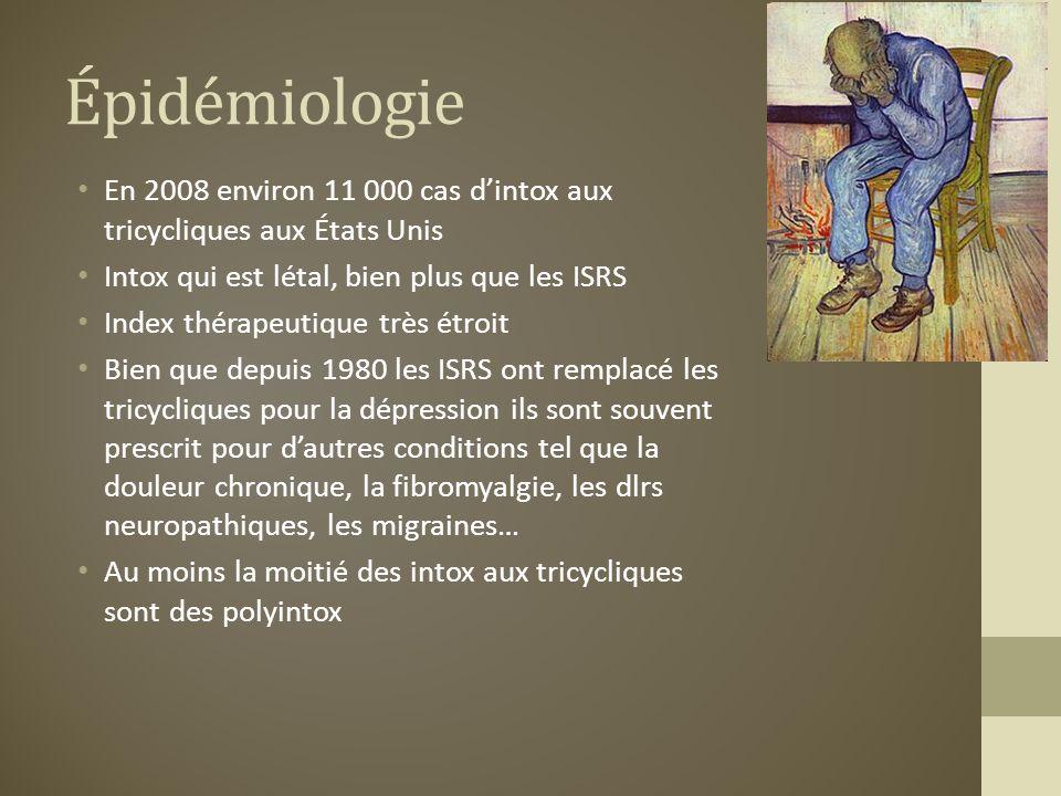 Épidémiologie En 2008 environ 11 000 cas d'intox aux tricycliques aux États Unis. Intox qui est létal, bien plus que les ISRS.