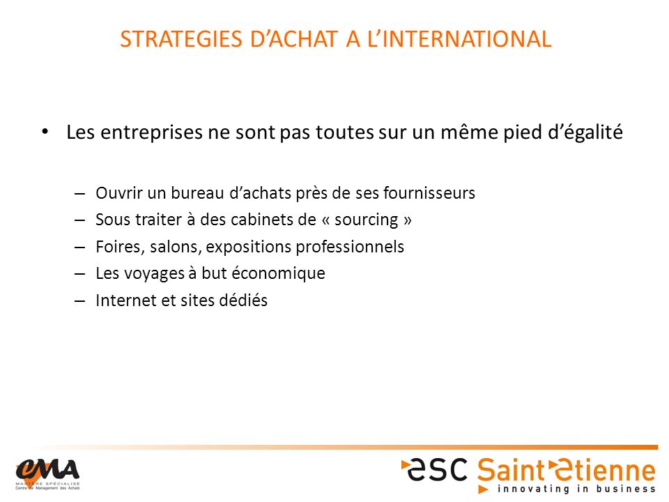 STRATEGIES D'ACHAT A L'INTERNATIONAL