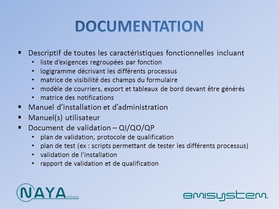 DOCUMENTATION Descriptif de toutes les caractéristiques fonctionnelles incluant. liste d'exigences regroupées par fonction.