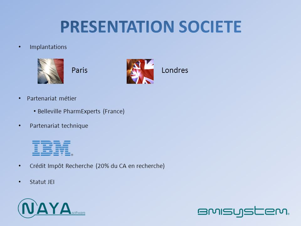 Presentation societe Londres Paris Implantations Partenariat métier