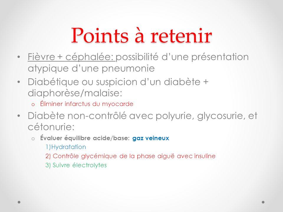 Points à retenir Fièvre + céphalée: possibilité d'une présentation atypique d'une pneumonie.