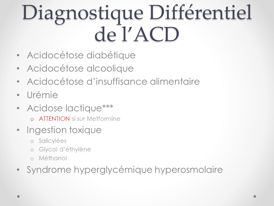 Diagnostique Différentiel de l'ACD