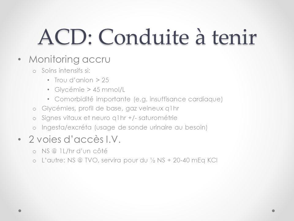 ACD: Conduite à tenir Monitoring accru 2 voies d'accès I.V.