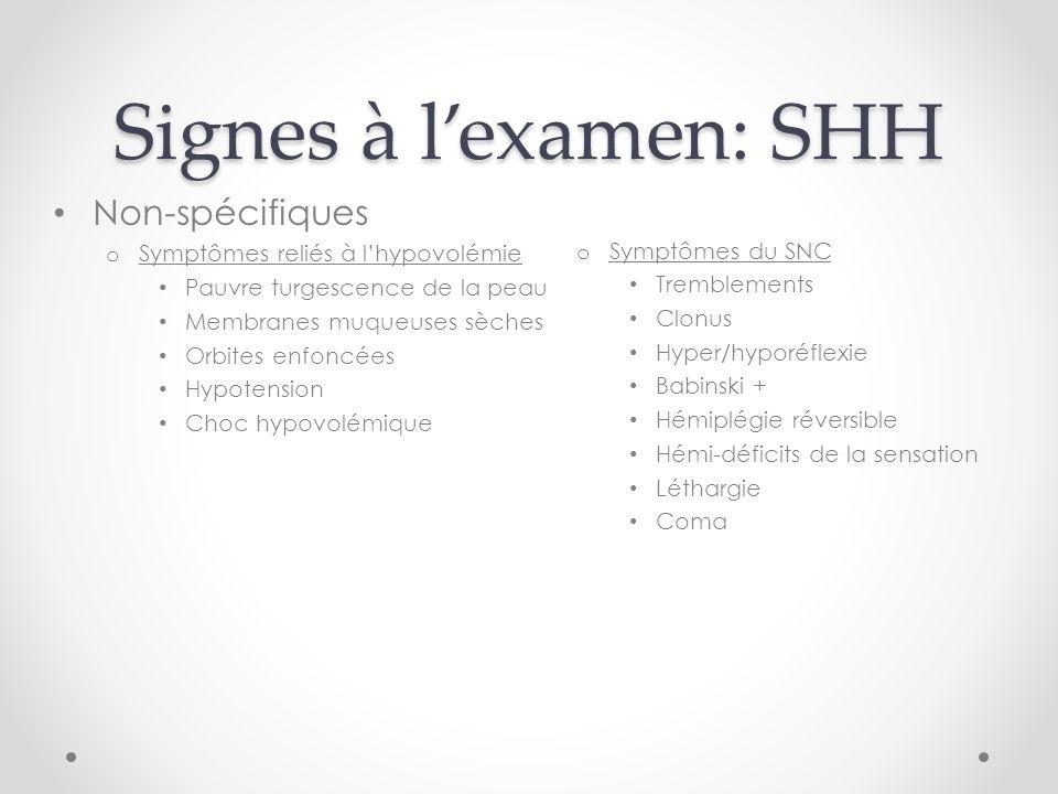 Signes à l'examen: SHH Non-spécifiques