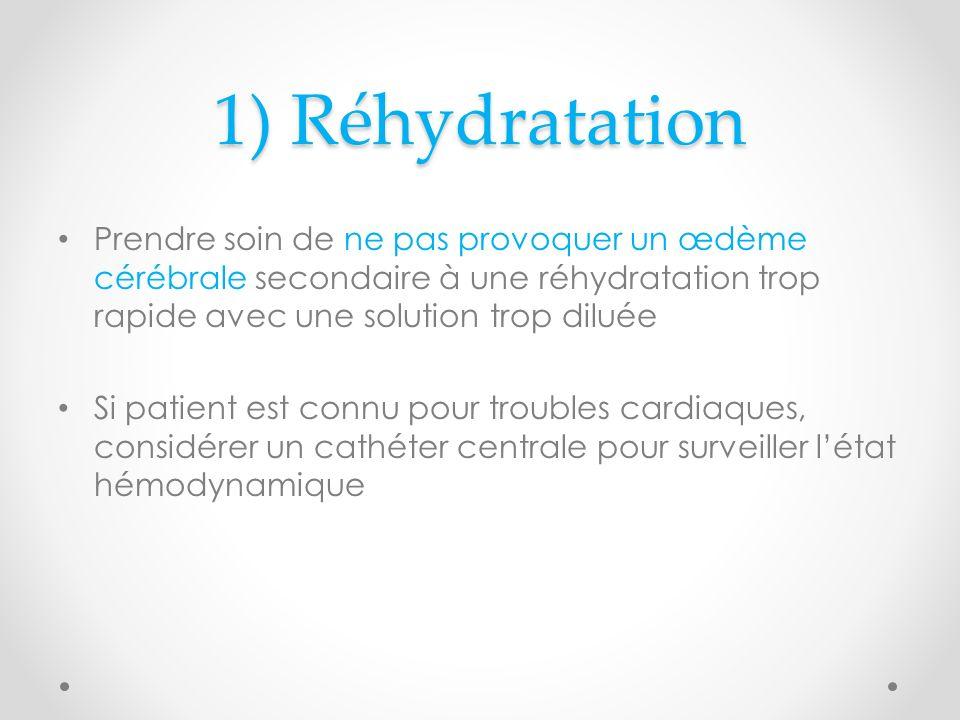 1) Réhydratation Prendre soin de ne pas provoquer un œdème cérébrale secondaire à une réhydratation trop rapide avec une solution trop diluée.