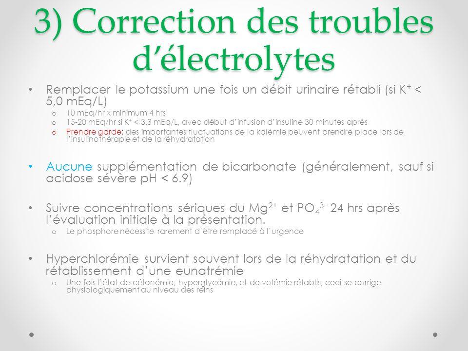 3) Correction des troubles d'électrolytes