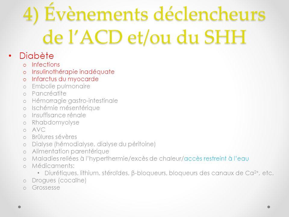 4) Évènements déclencheurs de l'ACD et/ou du SHH