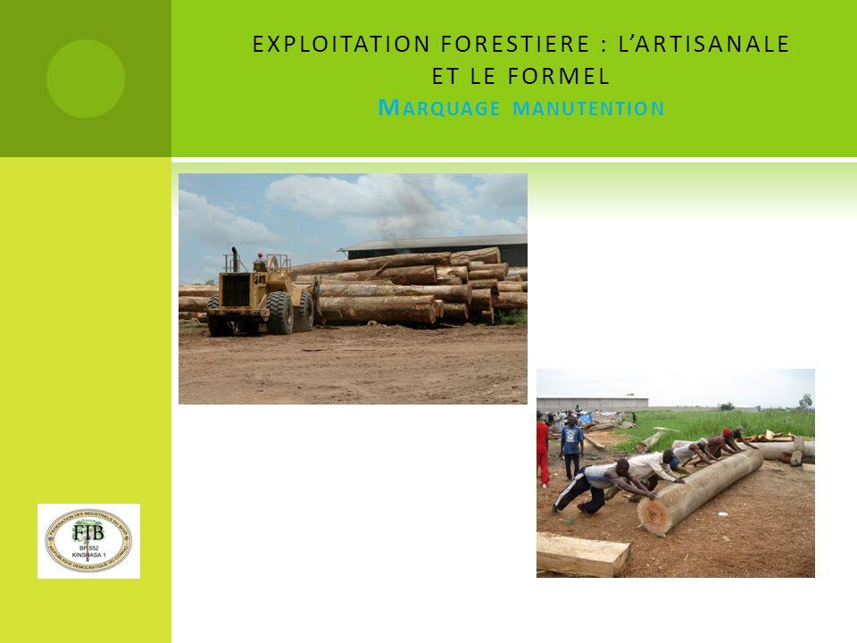 EXPLOITATION FORESTIERE : L'ARTISANALE ET LE FORMEL Marquage manutention