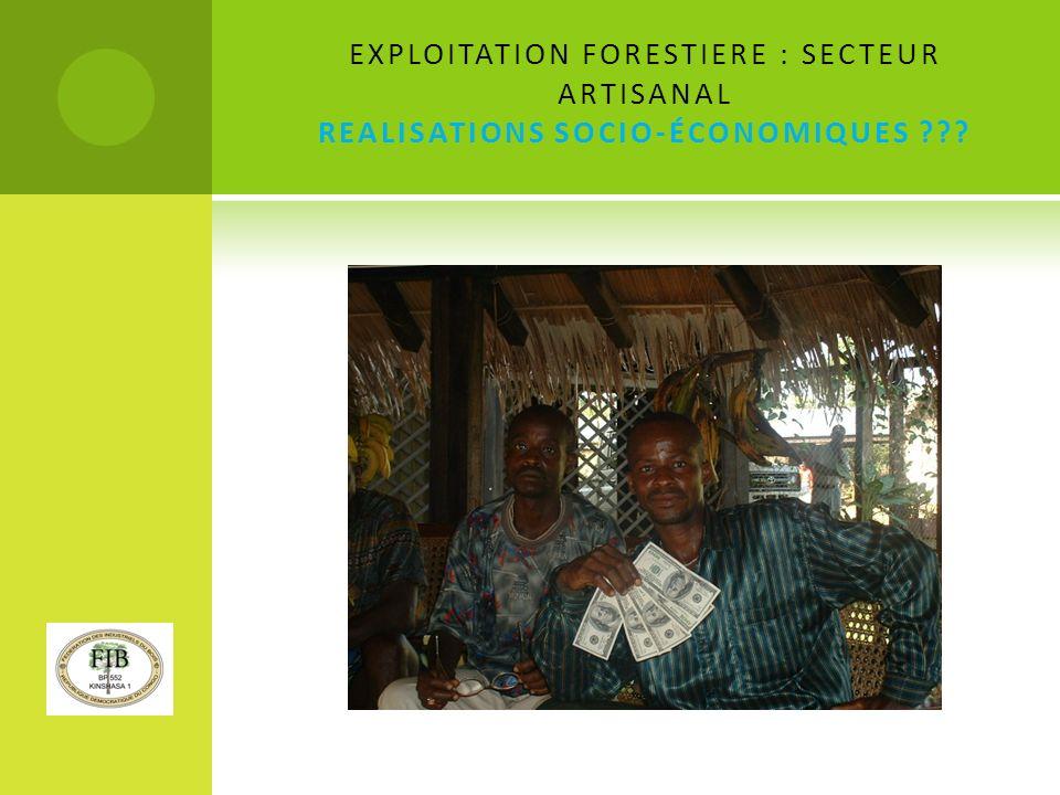 EXPLOITATION FORESTIERE : SECTEUR ARTISANAL REALISATIONS SOCIO-ÉCONOMIQUES