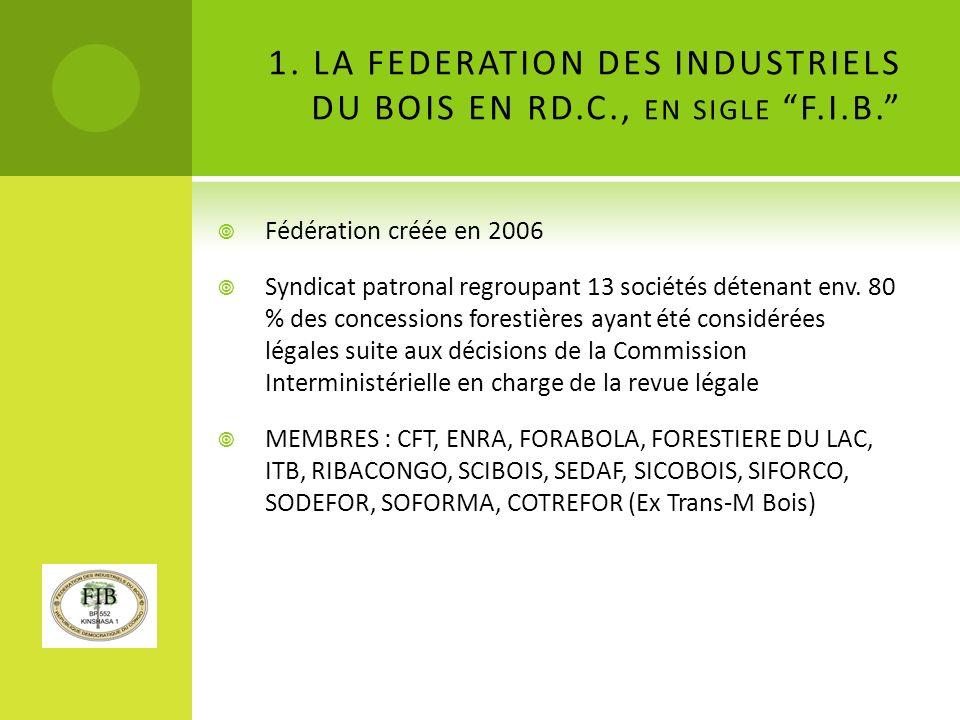 1. LA FEDERATION DES INDUSTRIELS DU BOIS EN RD.C., en sigle F.I.B.