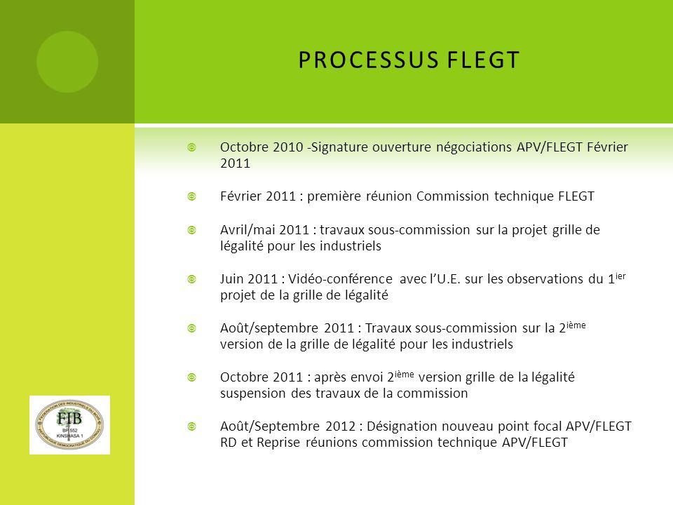 PROCESSUS FLEGT Octobre 2010 -Signature ouverture négociations APV/FLEGT Février 2011. Février 2011 : première réunion Commission technique FLEGT.
